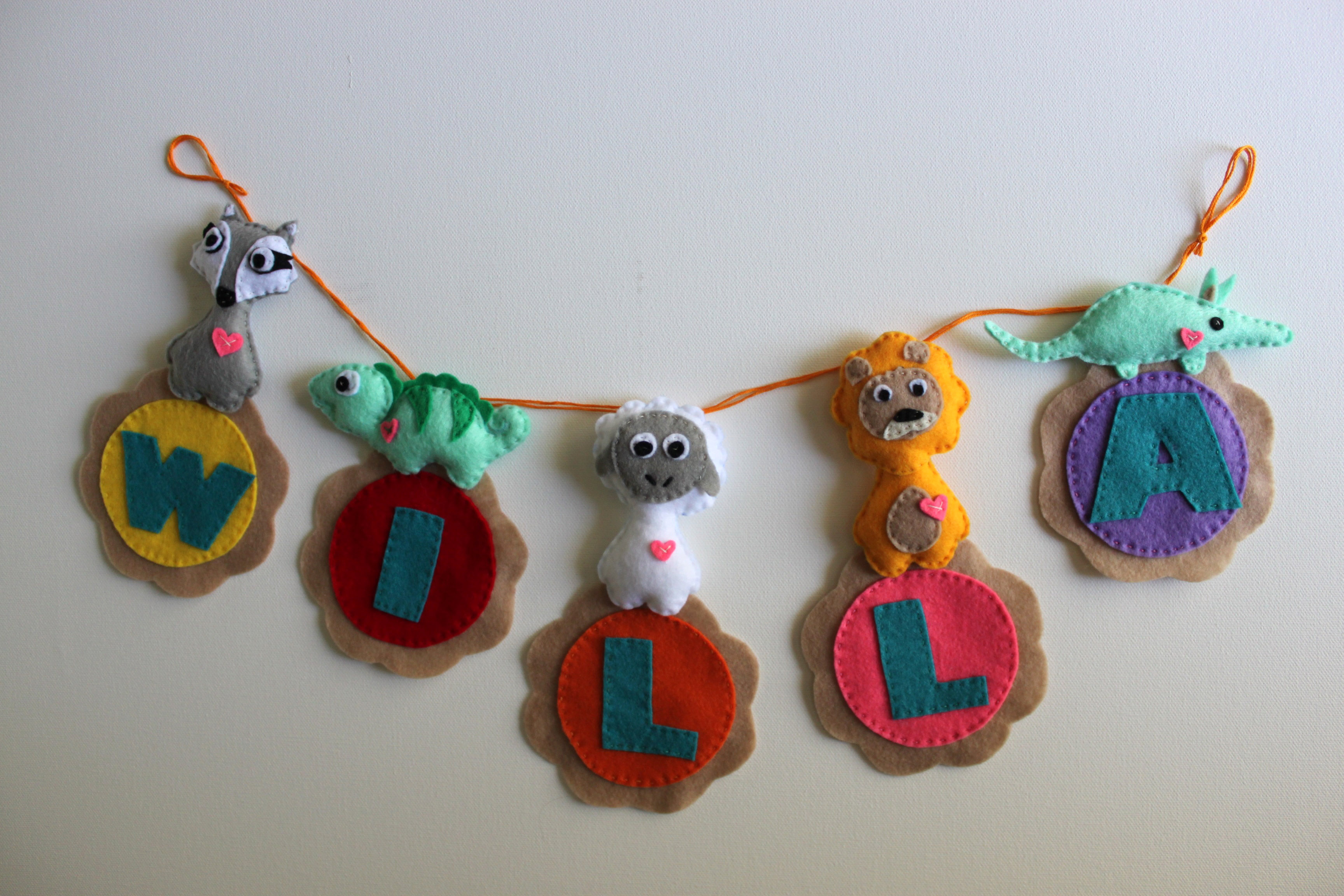 Personalized Animal Felt Name Banner   5 Letters   FREE SHIPPING